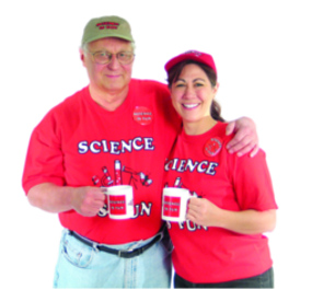 Ron and Tami wearing our SCIENCE IS FUN t-shirt (click to order)