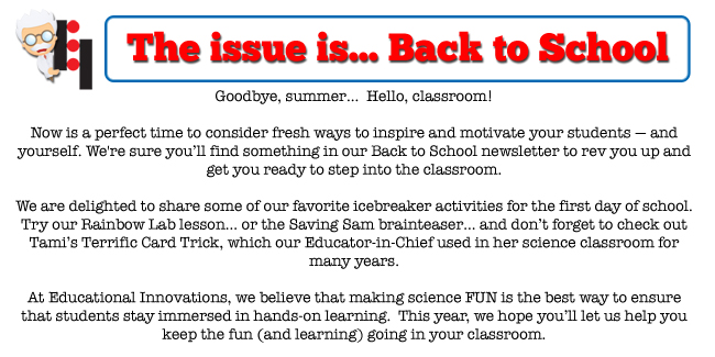 Back to School Newsletter - Educational Innovations Blog